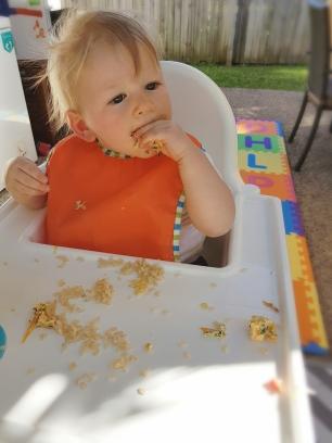 Benny eats frittata